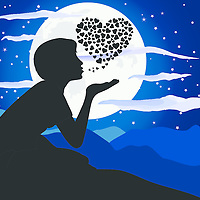 Lateral view of a girl silhouette blowing a kiss on the top of mountain, with small hearts in a shape of a bigger heart against the moon. Night setting. Romance and love concep