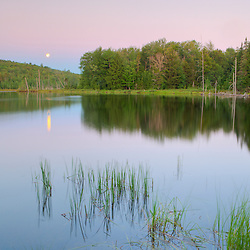 Mud Pond in Zack Woods.  Hyde Park, Vermont.  Moonset. HDR. Green River Reservoir State Park