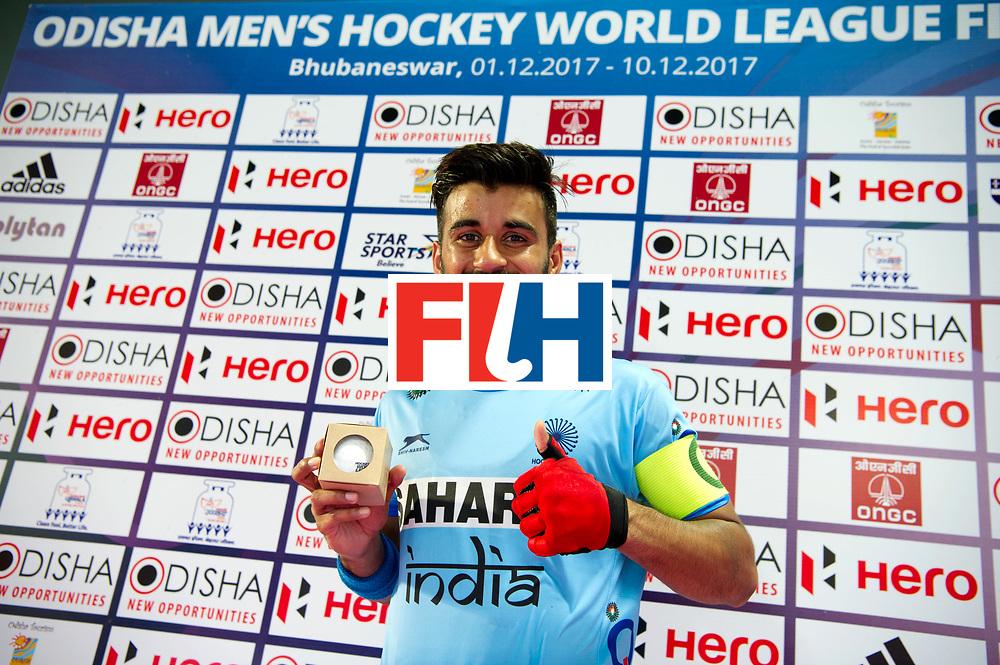 Odisha Men's Hockey World League Final Bhubaneswar 2017<br /> Match id:02<br /> Australia v India<br /> Foto: Manpreet Singh 200 cap.<br /> WORLDSPORTPICS COPYRIGHT FRANK UIJLENBROEK