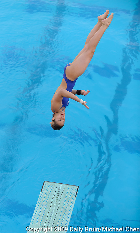 Junior diver Karina Silva performs a dive during UCLA's victory over Kansas and Fresno State at the inagural swim meet at the new Spieker Aquatics Center at UCLA in Los Angeles on Friday, Jan. 8, 2010.