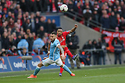 Liverpool defender Nathaniel Clyne (2)  crosses the ball in  during the Capital One Cup match between Liverpool and Manchester City at Anfield, Liverpool, England on 28 February 2016. Photo by Simon Davies.