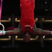 John Orozco, USA, performing on the rings during the Men's Artistic Gymnastics podium training at North Greenwich Arena during the London 2012 Olympic games preparation at the London Olympics. London, UK. 25th July 2012. Photo Tim Clayton