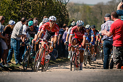 Front of the peloton with Trek - Segafredo leading during the 115th Paris-Roubaix (1.UWT) from Compiègne to Roubaix (257 km) at cobblestones sector 25 from Briastre to Solesmes, France, 9 April 2017. Photo by Pim Nijland / PelotonPhotos.com | All photos usage must carry mandatory copyright credit (Peloton Photos | Pim Nijland)