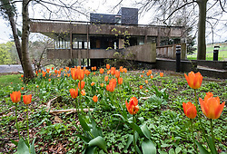 Selkirk, Scotland, UK. 4 May 2017. Campaign launched to save Grade A listed building, the former studio of textile designer Bernat Klein outside Selkirk in the Scottish Borders. Designed by architect Peter Womersley it has fallen into disrepair.