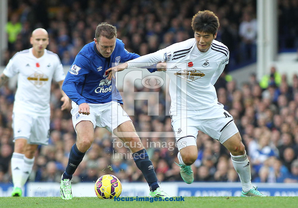 Aidan McGeady of Everton and Sung-Yueng Ki of Swansea City in action during the Barclays Premier League match at Goodison Park, Liverpool.<br /> Picture by Michael Sedgwick/Focus Images Ltd +44 7900 363072<br /> 01/11/2014
