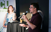 "Managing Editor Chris Murphy gives introduces the ""Corner Table Podcast"" during the live taping at Old Sugar Distillery in Madison, Wisconsin, Tuesday, June 18, 2019."