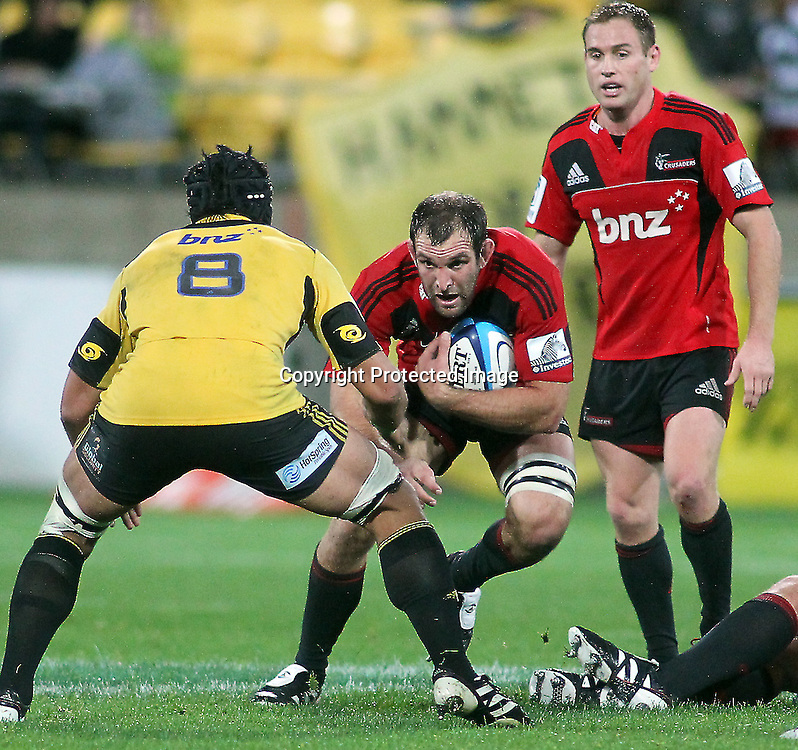 George Whitelock runs the ball up. Super Rugby - Crusaders v Hurricanes at Westpac Stadium, Wellington, New Zealand on Saturday 18th June 2011. PHOTO: Grant Down / photosport.co.nz
