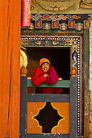 Buddhist monk at monastery, Ura Valley, Bumthang Valley, Bhutan