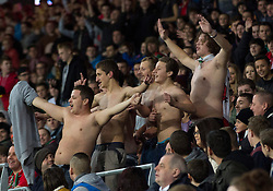 16.11.2013, Cardiff City Stadium, Cardiff, WAL, Fussball Testspiel, Wales vs Finnland, im Bild Topless Wales supporters cheer their team on // during the international friendly match between Wales and Finland at the Cardiff City Stadium in Cardiff, Great Britain on 2013/11/17. EXPA Pictures © 2013, PhotoCredit: EXPA/ Propagandaphoto/ Kieran McManus<br /> <br /> *****ATTENTION - OUT of ENG, GBR*****