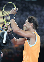 MELBOURNE, Jan. 16, 2019  Rafael Nadal of Spain celebrates after the men's singles second round match against Matthew Ebden of Australia at the Australian Open in Melbourne, Australia, Jan. 16, 2019. (Credit Image: © Bai Xuefei/Xinhua via ZUMA Wire)