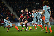 Chelsea Defender, Emerson (33) tackles AFC Bournemouth Midfielder, David Brooks (20) in the box during the Premier League match between Bournemouth and Chelsea at the Vitality Stadium, Bournemouth, England on 30 January 2019.