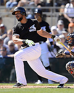 GLENDALE, ARIZONA - MARCH 04:  Jose Abreu #79 of the Chicago White Sox bats against the San Diego Padres on March 4, 2018 at Camelback Ranch in Glendale Arizona.  (Photo by Ron Vesely)  Subject:   Jose Abreu
