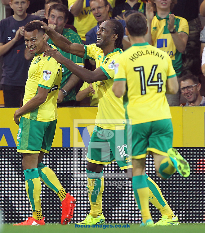 Jacob Murphy of Norwich celebrates scoring his sides 1st goal during the Sky Bet Championship match at Carrow Road, Norwich<br /> Picture by Paul Chesterton/Focus Images Ltd +44 7904 640267<br /> 13/09/2016