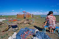 Mongolie. Province de Tov. Montage d'une yourte. // Mongolia. Tov province. Yurt assembly.