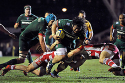 Logovi'i Mulipola of Leicester Tigers takes on the Gloucester defence - Photo mandatory by-line: Patrick Khachfe/JMP - Mobile: 07966 386802 13/02/2015 - SPORT - RUGBY UNION - Leicester - Welford Road - Leicester Tigers v Gloucester Rugby - Aviva Premiership