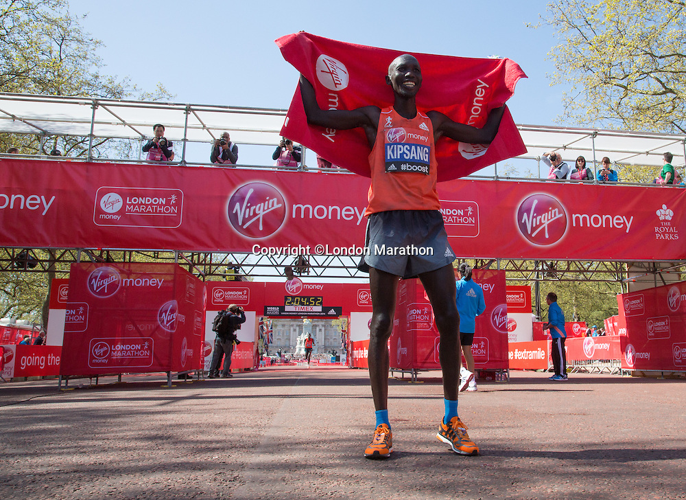 Wilson Kipsang after winning the Elite Men's race at the end of the Virgin Money London Marathon 2014 on Sunday 13 April 2014<br /> Photo: Roger Allan/Virgin Money London Marathon<br /> media@london-marathon.co.uk