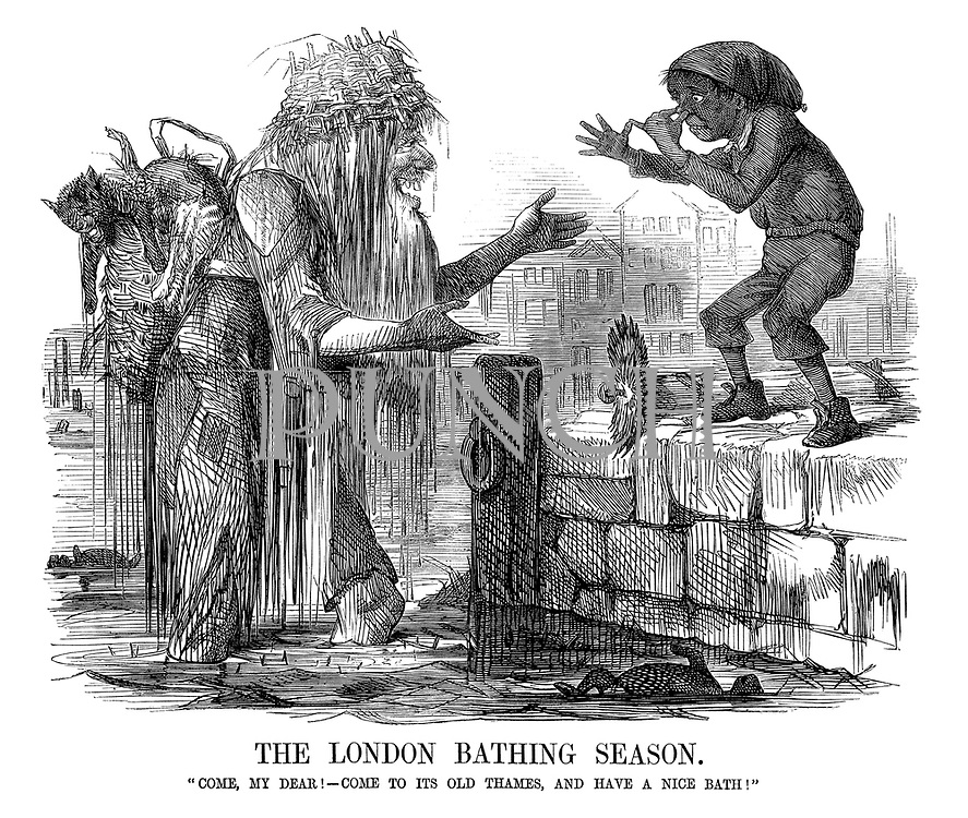 "The London Bathing Season. ""Come, my dear! Come to its old Thames, and have a nice bath!"" (Father Thames invites a poor boy to clean up in the dirty Thames river which is full of dead animals)"