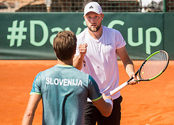 Aljaz Bedene and Tom Kocevar Desman of Slovenia playing doubles during Davis Cup 2018 Europe/Africa zone Group II between Slovenia and Turkey, on April 8, 2018 in Portoroz / Portorose, Slovenia. Photo by Vid Ponikvar / Sportida
