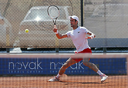 BELGRADE (SERBIA), May, 2, 2018  Former World number one tennis player Novak Djokovic returns the ball during open training session in Belgrade, Serbia on May 2, 2018. (Credit Image: © Predrag Milosavljevic/Xinhua via ZUMA Wire)