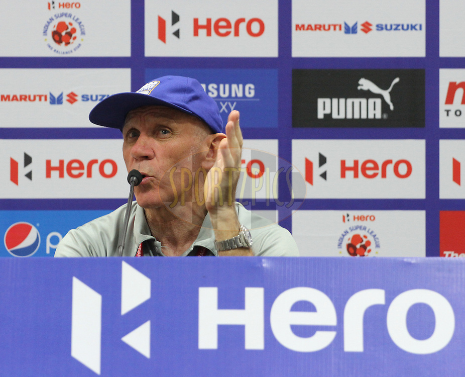 Mumbai City FC coach Peter Reid during the press conference of match 22 of the Hero Indian Super League between Mumbai City FC and Delhi Dynamos FC City held at the D.Y. Patil Stadium, Navi Mumbai, India on the 5th November.<br /> <br /> Photo by:  Vipin Pawar/ ISL/ SPORTZPICS