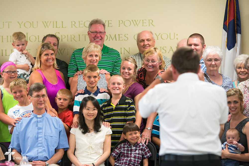 Gary Thies makes a group photograph following a mission festival at Mission Central on Sunday, July 19, 2015, in Mapleton, Iowa. LCMS Communications/Erik M. Lunsford