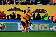Wolverhampton Wanderers midfielder Dave Edwards celebrates the opening goal during the Sky Bet Championship match between Wolverhampton Wanderers and Middlesbrough at Molineux, Wolverhampton, England on 24 October 2015. Photo by Alan Franklin.