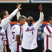 NEW YORK, NEW YORK - May 28: Mookie Wilson #1 amongst the players introduced to the crowd during the anniversary celebration of the 1986 World Championship team before the Los Angeles Dodgers Vs New York Mets regular season MLB game at Citi Field on May 28, 2016 in New York City. (Photo by Tim Clayton/Corbis via Getty Images)