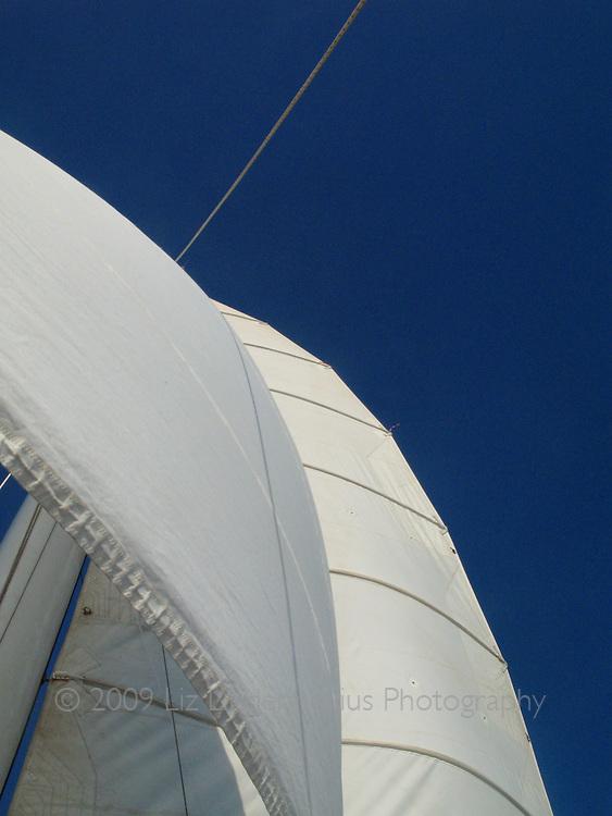 Full sails on sailboat