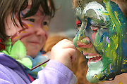 20/09/07 SW. Ella Russell, 4, at Houghton Valley Playcentre enjoys some face-painting of caregiver Klare Bray..Photo: Crispin Anderlini