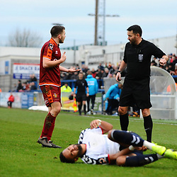 TELFORD COPYRIGHT MIKE SHERIDAN 5/1/2019 - Jacob Hibbs protests his innocence after bringing down Brendon Daniels of AFC Telford during the Vanarama Conference North fixture between AFC Telford United and Spennymoor Town.