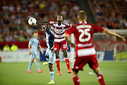 FRISCO, TX - JUNE 22:  Je-Vaughn Watson #27 of FC Dallas looks for the ball against Sporting Kansas City on June 22, 2013 at FC Dallas Stadium in Frisco, Texas.  (Photo by Cooper Neill/Getty Images) *** Local Caption *** Je-Vaughn Watson