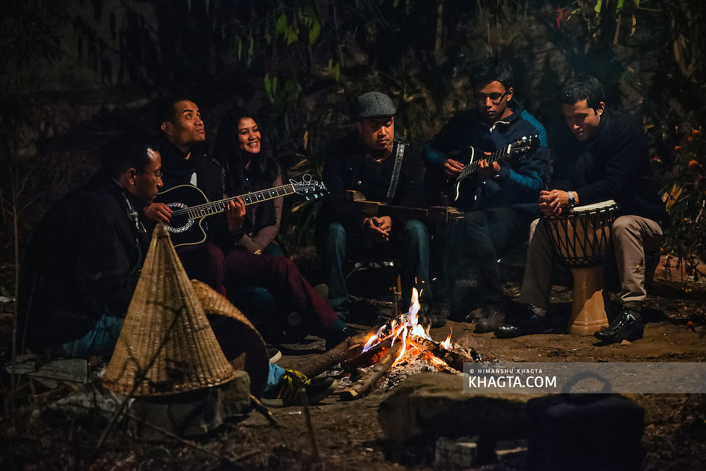 Summer Salt, a folk band from Shillong, Meghalaya playing in their backyard. They sing in Khasi and use a mix of traditional and modern instruments in their music.
