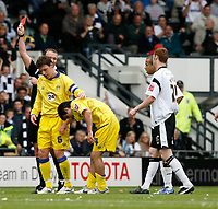 Photo: Steve Bond.<br />Derby County v Leeds United. Coca Cola Championship. 06/05/2007. Robert Bayly receives a red card on his debut