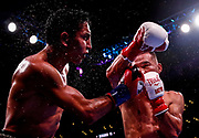 Mario Barrios, left, and Batyr Akhmedov exchange punches during the WBA World Super Lightweight Championship boxing match Saturday, Sept. 28, 2019, in Los Angeles.
