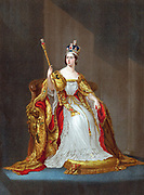 Queen Victoria (1819-1901) queen of United Kingdom 1837, Empress of India 1876, crowned 1838. Victoria on throne  in coronation robes wearing crown and holding sceptre. Oleograph