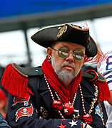 Tampa Bay Buccaneers fan during an NFL International Series game against the Carolina Panthers at Tottenham Hotspur Stadium, Sunday, Oct. 13, 2019, in London.  The Panthers defeated the Buccaneers 37-26. (Gareth Williams/Image of Sport)