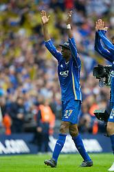 LONDON, ENGLAND - Saturday, May 17, 2008: Portsmouth's match-winner Nwankwo Kanu celebrates after beating Cardiff City 1-0 during the FA Cup Final at Wembley Stadium. (Photo by David Rawcliffe/Propaganda)