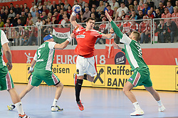 LAUGE SCHMIDT Rasmus of Denmark during handball match between National teams of Denmark and Hungary on Day 2 in Preliminary Round of Men's EHF EURO 2018, on Januar 13, 2018 in Skolsko Sportska Dvorana, Varazdin, Croatia. Photo by Mario Horvat / Sportida