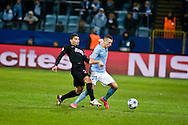 25.11.2015. Malmö, Sweden. <br /> Nikola Djurdjic (R) of Malmö FF fights for the ball with Thiago Silva (L) of Paris during the UEFA Champions League match at the Malmö Stadium. <br /> Photo: © Ricardo Ramirez.