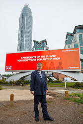 © Licensed to London News Pictures. 09/06/2016. London, UK. Top City investor and Crystal Palace FC co-owner JEREMY HOSKING unveils his new EU referendum campaign 'Brexit Express' at Vauxhall Cross with the first of a series of billboard advertisements to be launched across major sites across the country on 9 June 2016. Photo credit: Tolga Akmen/LNP