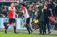 ROTTERDAM - Feyenoord - ADO Den Haag , Voetbal , KNVB Beker , Seizoen 2016/2017 , De Kuip , 14-12-2016 , Feyenoord speler Terence Kongolo maakt zijn rentree na zijn blessure , hij komt in het veld voor Feyenoord speler Eric Botteghin (l)