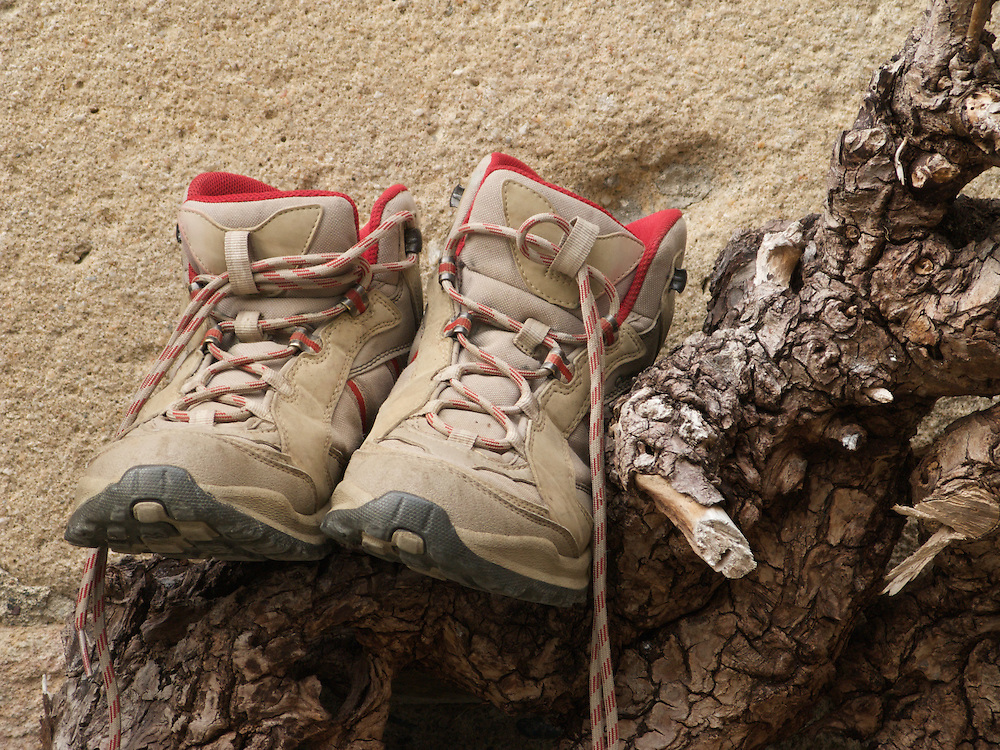 At the end of each day, one walker had taken off their boots and left them to air and breath on an old log.