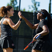 10 November 2017:  The San Diego State Aztecs women's tennis team hosts it's annual Fall Classic II. Magda Aubets and Nnena Nadozie celebrate after winning a point during a doubles match.<br /> www.sdsuaztecphotos.com