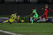 Forest Green Rovers George Williams(11) shoots at goal saved by Grimsby Towns goalkeper Sam Russell(23) during the EFL Sky Bet League 2 match between Forest Green Rovers and Grimsby Town FC at the New Lawn, Forest Green, United Kingdom on 22 January 2019.
