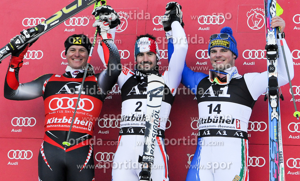 23.01.2011, Hahnenkamm, Kitzbuehel, AUT, FIS World Cup Ski Alpin, Men, Slalom, im Bild // das Podium im Slalom, v.l. Ivica Kostelic (CRO), Jean-Baptiste Grange (FRA), Giuliano Razzoli (ITA) // during the men slalom race at the FIS Alpine skiing World cup in Kitzbuehel, EXPA Pictures © 2011, PhotoCredit: EXPA/ S. Zangrando