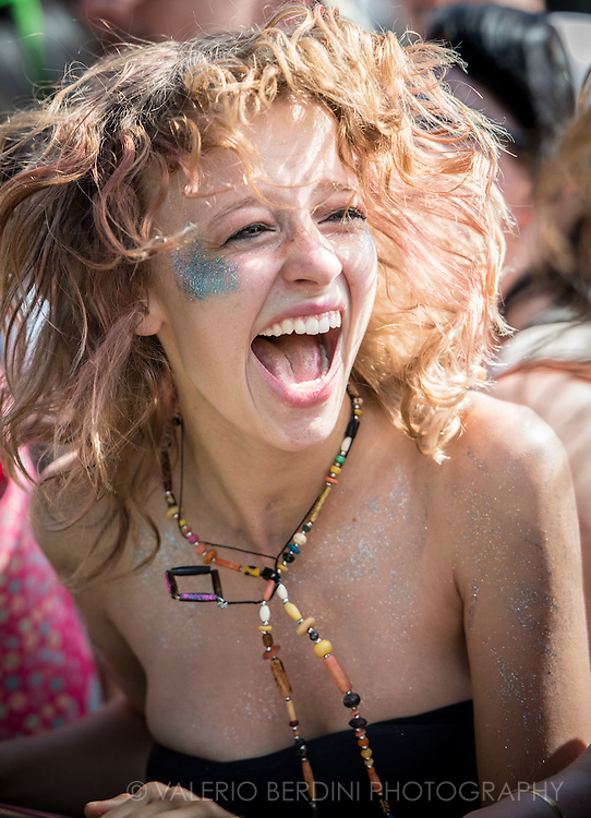 Fan excited to listen to her favourite bands at Field Day festival in London Victoria Park on 8 June 2014