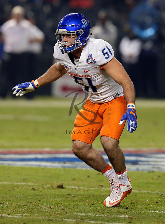 Boise State linebacker Ben Weaver (51) during the Cactus Bowl NCAA college football game against Baylor, Tuesday, Dec. 27, 2016, in Phoenix. (AP Photo/Rick Scuteri)