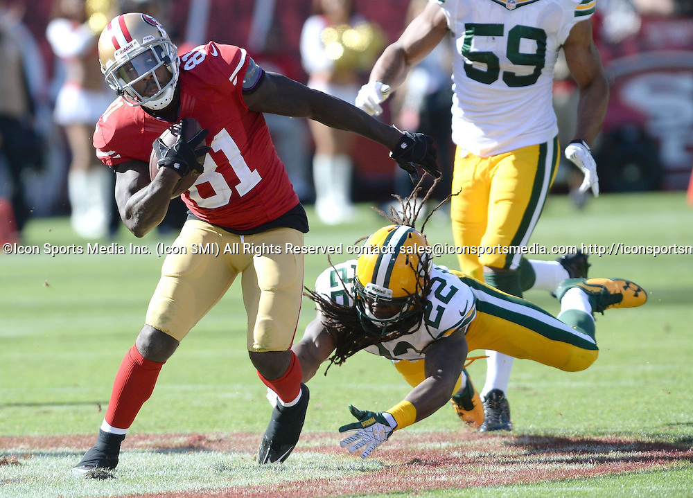 Sept. 8, 2013 - San Francisco, CA, USA - The San Francisco 49ers' Anquan Boldin (81) breaks away from the Green Bay Packers' Jerron McMillian (22) in the second half at Candlestick Park in San Francisco, California, on Sunday, September 8, 2013