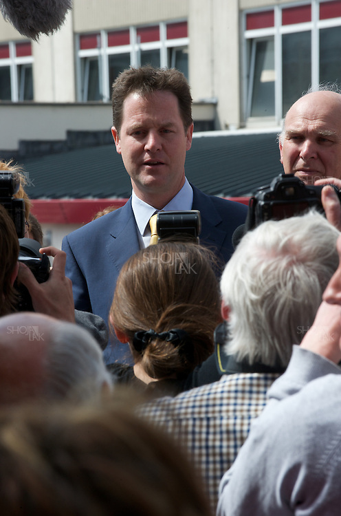 Liberal Democrat leader Nick Clegg and Shadow Chancellor Vince Cable campaign at Southampton General Hospital, on April 27, 2010.