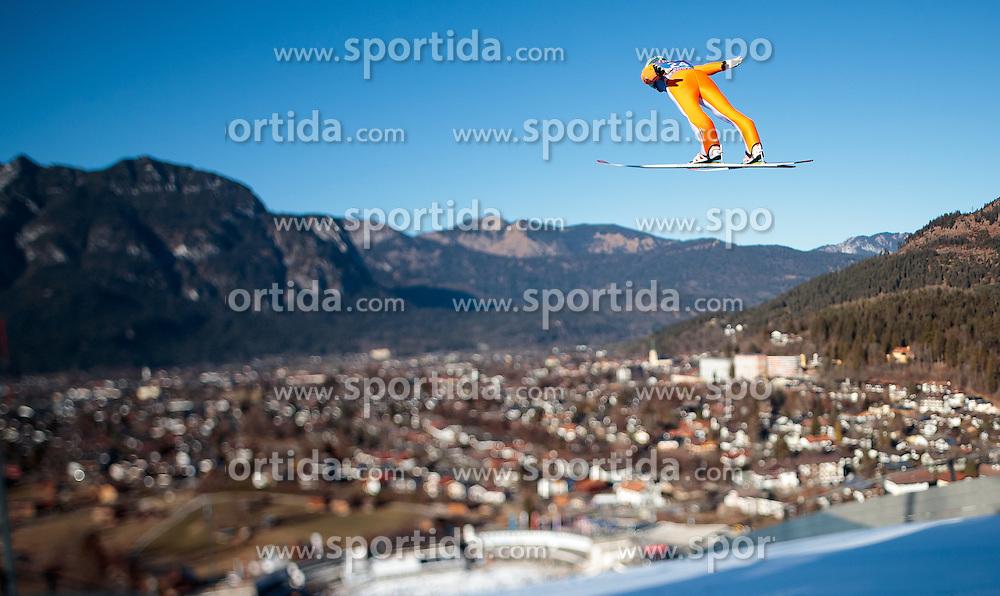 31.12.2016, Olympiaschanze, Garmisch Partenkirchen, GER, FIS Weltcup Ski Sprung, Vierschanzentournee, Garmisch Partenkirchen, Training, im Bild Jernej Damjan (SLO), mit einem Tilt & Shift Objektiv fotografiert // Jernej Damjan of Slovenia photographed with a Tilt & Shift lens during his Practice Jump for the Four Hills Tournament of FIS Ski Jumping World Cup at the Olympiaschanze in Garmisch Partenkirchen, Germany on 2016/12/31. EXPA Pictures © 2017, PhotoCredit: EXPA/ JFK